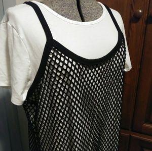 Torrid fishnet dress with white T-shirt dress